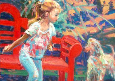 Petite fille au chien
